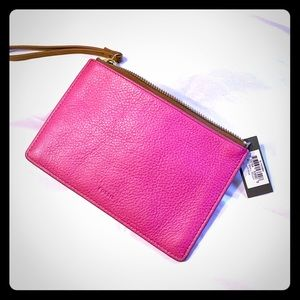 Fossil Pink Wristlet cow hide leather Purse NWT
